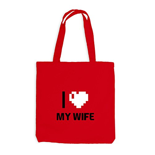 Jutebeutel - I Love My Wife - Traumfrau Herz Heart Pixel Rot