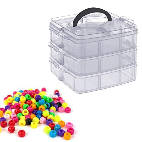 3-stöckige Kunststoff Transparente Aufbewahrungsbox von Kurtzy - 18 Verstellbare Fächer - Sortierbox Für Organisation von Schmuck, Nähfäden, Beautyzubehör - Stapelbarer Abschließbarer Behälter