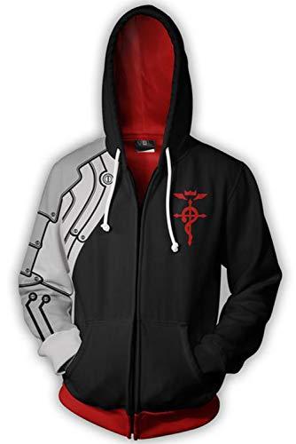 Kostüm Alchemist Edward Fullmetal Elric - Edward Elric Fullmetal Alchemist Pulli Kapuzenpulli Cosplay Kostüm Schwarz XL