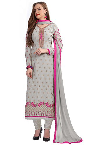 SareeShop Women's Embroidered Semi-Stitched Salwar Suit (Zaira-3007-SS)