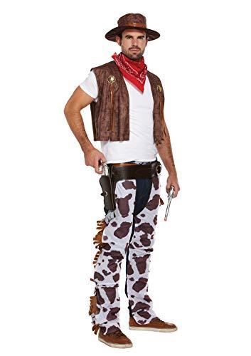 Emmas Garderobe Cowboy Kostüm für Männer - Woody Stil Outfit UK Größe M-XL (Men: Large, Brown) (Kostüm Für Männer Cowboy)