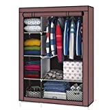 Aventure Iron Portable Foldable Closet Multipurpose Wardrobe with Shelves, 4.1ft, Beige