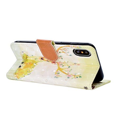 iPhone X 2017 Brieftasche Hülle, iPhone 10 Flip Case, Asnlove Bookstyle Schutzhülle Litchi PU Leder Flip Ledertasche Case Design 3D Muster Serie mit Integrierten TPU Silikon Kartensteckplätzen und Stä Style-10