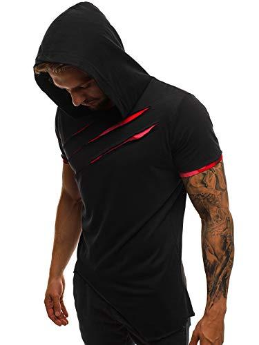 OZONEE Mix Herren Tanktop Shirt Tankshirt T-Shirt Kapuzenpullover Unterhemden Ärmellos Muskelshirt Fitness Sommer Basic Kurzarm A/1185 SCHWARZ-ROT L