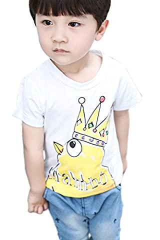 Minetom Garçon Manche Courte Tee Col Rond Poussins Bande Dessinée Imprimé T-Shirt Eté Soins Peau T-Shirt Casual Souple Enfants Bébé Respirant Tops Blanc 120