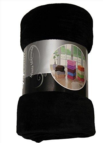 ForenTex - Manta de sedalina, (LI-180 NEGRA), Ultra suave, microseda, para abrigarte con estilo y confort, 180 x 220 cm, 1 kg. No suelta pelo. Para sofá y cama. 1-4 mantas paga solo un envío, descuento equivalente antes de finalizar la compra.