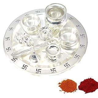 Amba Handicraft Indische Traditionelle Deko Pooja Thali, schöne Lakshmi Festival ethnische Geschenk für Sie/Kankavati/Diwali/indisches Kunsthandwerk/Zuhause/Tempel/Büro/Hochzeit Geschenk GS04