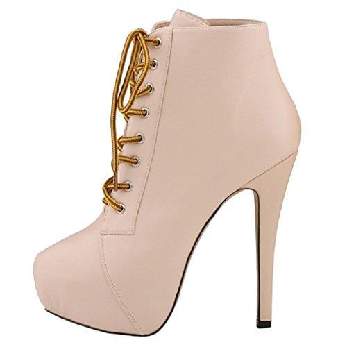 EKS Damen Schuhband High Heels Stilett Plattform Stiefele Beige-Matte