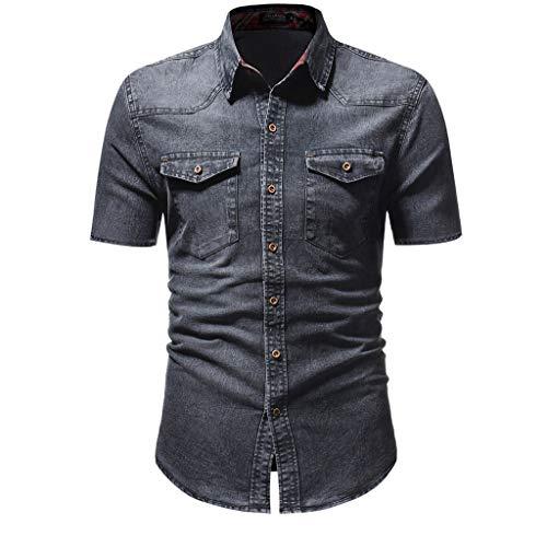 erren Vintage Denim Hemd Mode Slim Button Kurzarm T-Shirt Denim Jacke Casual Slim Fit Button Shirt mit Tasche Kurzarm Tops Bluse Cowboy-Style Denim Shirt Sommerhemd ()