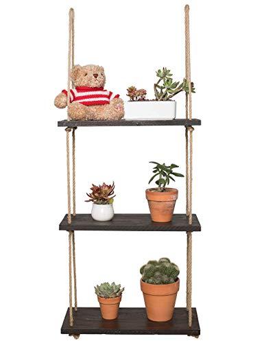 Jiaxingo Schwebe-Regale mit 3 Ebenen, Holz-Hängeregal, mit dickem Seil zum Aufhängen, rustikal, für Wohnzimmer, Wohnzimmer, Wanddekoration -