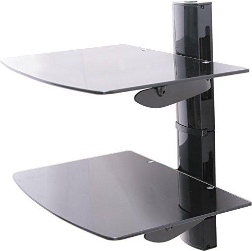 Ttap 2 x schwebende Schwarze Glasregale Halterung für DVD-/Blu-Ray-Player, Satellite/Kabelbox, Spielekonsole (Wandhalterung Bluray-player)