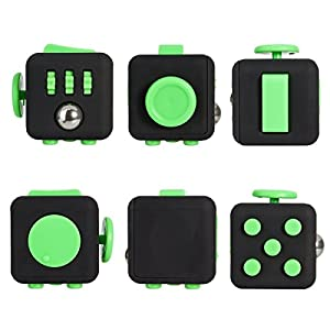 Fidget Cube Relieves Stress And Anxiety, Fidget Toy Fun Cube Anxiety Attention Toy for Children and Adults with ADHD ADD OCD Autism (BLACK GREEN)