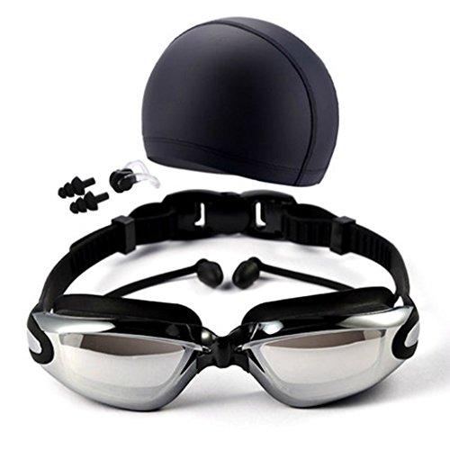 QHYK Schwimmbrille, Anti-Fog und 100% Anti-UV-Schutz ohne Lecks, Crystal Vision Brille, mit Silikon Badekappe + Nasenklemme + Ohrstöpsel + Gehäuse, konzipiert für Männer, Frauen und Jugend