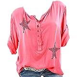MOIKA Damen T-Shirt, Groß Größe Frauen Damen Freizeit V-Ausschnitt Manschetten-Ärmel Locker Punkte Taschen Shirt Bluse Langarm Tops Bluse