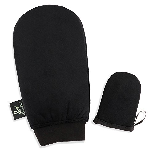 SwanMyst Applikator von Selbstbräunungshandschuhen mit verbesserten kuscheligen rutschfesten und elastischen Handgelenkband und Mini-Gesichtshandschuhen für gleichmäßiges und streifenfreies Bräunen (Doppelseitg abwaschbar)