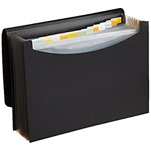 AmazonBasics Expanding File Folder, Letter Size (Fits A4 Paper) – Black – with 13 pockets