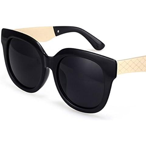 ZWX Occhiali da sole vintage grande cornice/Occhiali da sole rosa trasparente riflettente/Occhiali da sole signore coreano-A