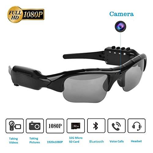 Sliwei Kamera Brille, Bluetooth Sonnenbrille Kamera Full HD 1080P mit Weitwinkel-Mini-Kamera für Outdoor-Sportarten