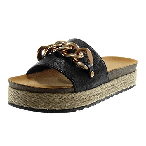 d894d5fc59e9 Angkorly Chaussures Mode Mules Sandales Slip-on Wedges Femme Chaîne Doro  Rope Wedge Talon Plateforme