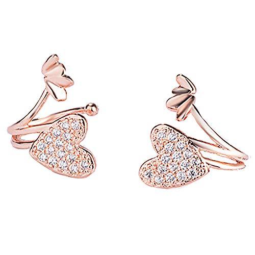 CWYPB Mädchen Herzförmigen Diamant-Ohr-Clip, Frau Ohrenfrei Ohrenclip Damen Nicht-Allergischen Ohrringen Für Mädchen Verlobte Lady Frau Tochter (Gold-Silber),Gold