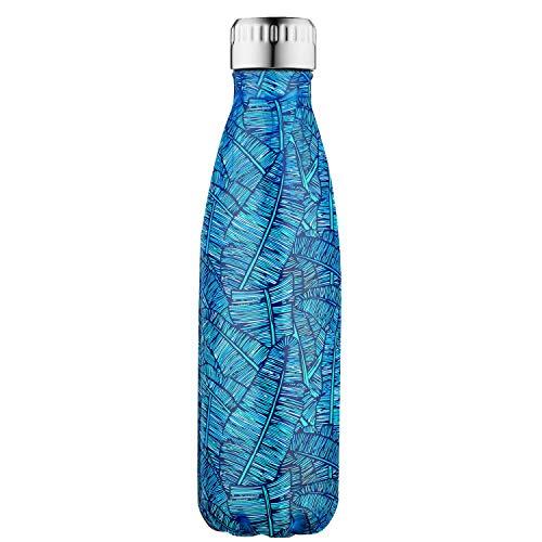 elstahl Colorful heißes und Kaltes Wasser Flasche Vakuum Isoliert auslaufsicher doppelwandig Sport Tassen (500 ml), Blue Palma Plus ()