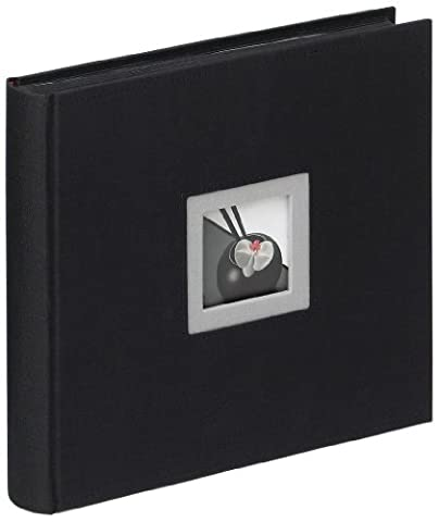 walther design FA-209-B Black & White linen cover, book bound album with die cut for your personal picture, 10.2 x 10.2 inch (26 x 26 cm), 50 black pages, black