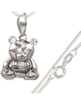 Kinderschmuck: Teddy-Bär Zirkonia Anhänger mit 40 cm Silberkette aus 925er Silber#565