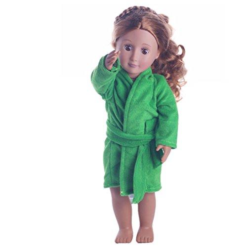 Vovotrade Spielzeug Baby Spielzeug Puppen Outfits Nette Weiche Robe Puppen Robe Fit Nachtkleid Für 18 Zoll Unsere Generation American Girl Puppe (Grün, Passend für 18 Zoll Puppen)