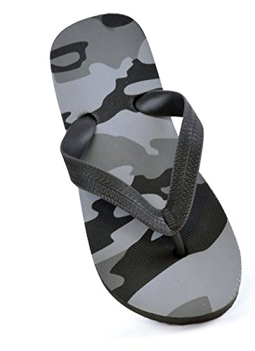 OCTAVE® Boys Army / Camouflage Design Summer / Beach Wear Flip Flops [Size 9/10, Colour Grey Army]