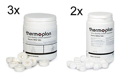 Thermoplan, set compresse per macchina del caffè Thermoplan Black & White, 3 flaconi di compresse Thermo Milk e 2 flaconi di pastiglie detergenti, durata di 3 mesi