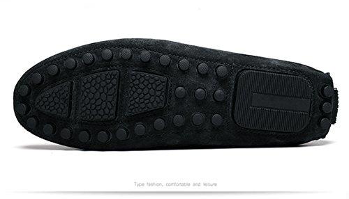 Icegrey Hommes Mocassins Cuir Suedé avec Tessel Loafers Casual Bateau Chaussures de Ville Flats Noir