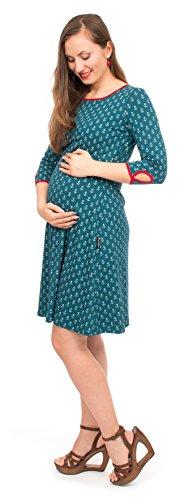 Viva la Mama I Schwangerschaftskleid Umstandskleid Schwangerschaftsmode Umstandsmode Damen I Kleid Stillzeit I Milla - Petrol Anker - S Anker Kleid
