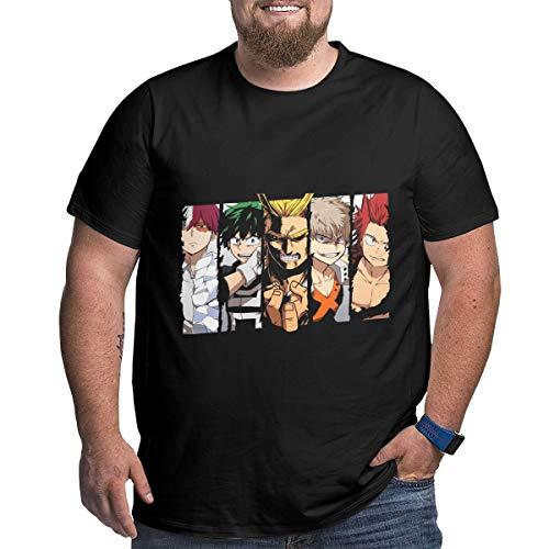 Eivan My Hero Academia Herren T-Shirt Large Size Rundhalsausschnitt Baumwolle Kurzarm Shirt Gr. 56, Schwarz