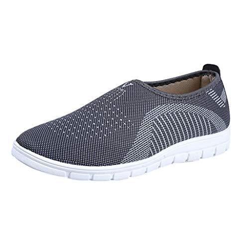 designer fashion 27dce bb6ff Yvelands Loafers weichen Schuhen Flache Damen Mesh Hose mit bequemen Walk  Strip Sneakers(Grau(