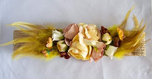 Cinturón elástico de rafia con adorno de flores y plumas. Envío GRATIS