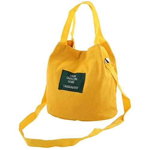 Canvas Schultertasche, YooGer Mädchen Handtaschen Messenger Crossbody Taschen für Schule Shopping - Gelb (Slouch Frauen Für Handtaschen)