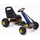 Homcom Kart à pédales Go-Kart Enfants 96L x 68l x 56H cm siège réglable, Frein et Embrayage Bleu Jaune...