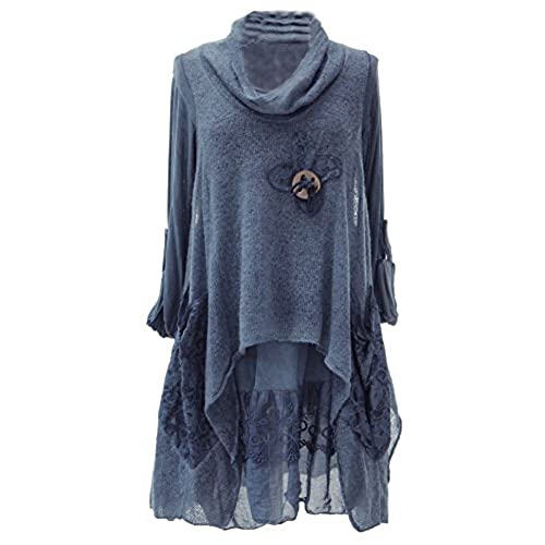 TEXTURE Ladies Women Italian Lagenlook Quirky 2 Piece Long Sleeve Knitted  Cowl Neck Mohair Wooden Button Tunic Dress One Size Plus 12-20 (One Size  Plus, ...