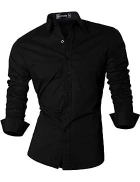 Sportrendy Camicia da Uomo Semplice Tinta Unita Lavoro Camicie Moda Slim Shirts Men Top JZS046