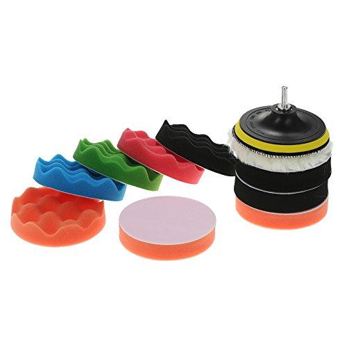 KKmoon 11Pcs 5 Inch 125mm Polierschwamm Polierpad Polierteller Polierset für Auto Reinigung, 4 Ebene Polierpad, 5 Wellige Polierpad, 1 Wollpuffer, 1 Adhesive Backer Pad, M10 Bohrer Adapter mit Schaft