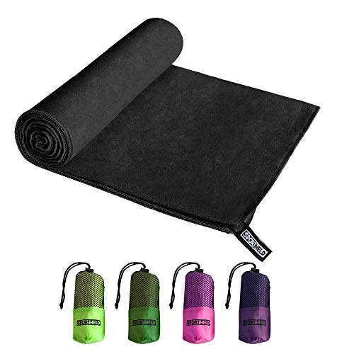 Sportheld - MIKRO-Faser Hand-Tuch in 5 Farben: hell-grün, dunkel-grün, pink, violett, schwarz & 3 GRÖßEN: 80 x 40cm | 120 x 60cm | 160 x 80cm | Micro-Faser leicht, saugfähig | schwarz 60 x 120cm