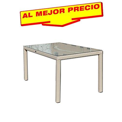 MESA DE RATTAN 150X90 CM ESPECIAL EXTERIOR, MODELO PLACE , ESTRUCTURA INTERNA DE ALUMINIO, COLOR BLANCO BEIGE