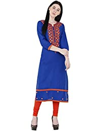 Zoeyams Women's Blue Cotton Aari Embroidery Long Straight Kurti