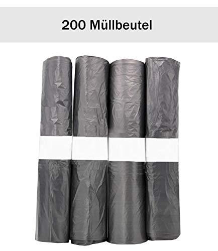 200x Mülltüten 30l, 4 Rollen je 50x Müllbeutel für Tretteimer, kleine Mülltonnen, Haushaltsabfälle, schwarze Mülltüten vollständig aus Recyling-Material (Mülltonne Kleine Schwarze)
