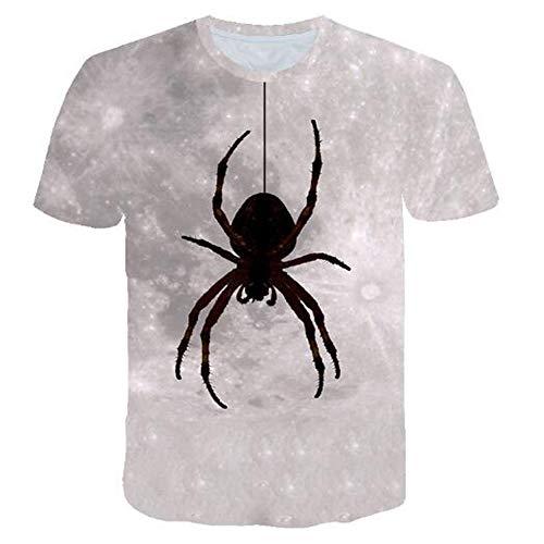 Herren Neuheit T-Shirt 2019 Sommer Casual Kurzarm 3D Digital Gedruckt T Shirt Tops Premium,Halloween Katzendruck grau 3XL -