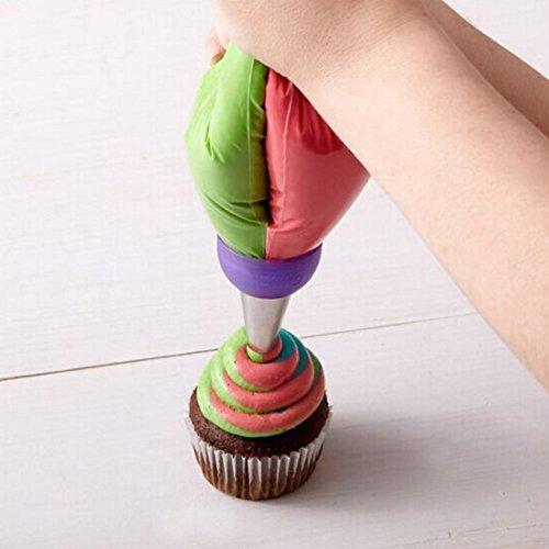 1pcs 3agujeros decoración de pasteles convertidor Conversor de mezcla Boquilla de manga pastelera para Cupcake Color al azar