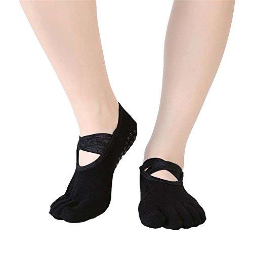 Affe Damen Non Slip Yoga Socken mit Crossover Straps Frauen Ballett Pilates Fitness Dance Full-Toesox(Schwarz) (Bio-baumwolle Crossover)