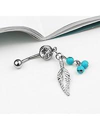 Ecloud Shop® Feuille argent avec Belly Ring Bleu Perles de Cristal Piercing Nombril Bijoux