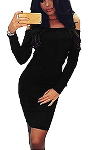 SunIfSnow Damen One-Shoulder Kleid, Einfarbig Gr. M, schwarz (Leather Knit Baggy)