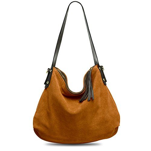 CASPAR TL765 Damen echt Leder Wildleder Tasche Handtasche Schultertasche Hobo Bag Cognac